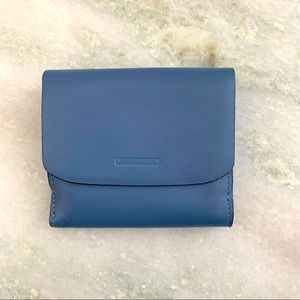 Levenger Blue Trifold Leather Wallet